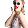 Pinup shouting out loud — Stock Photo