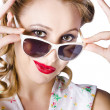 Fashionable woman in sun shades — Foto Stock