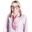 Foto Stock: Nerdy young business person