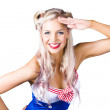 Sexy pin-up woman in sailor outfit — Stock Photo