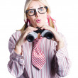 Business woman with binoculars - Stock Photo