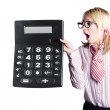 Woman with large calculator — Stok fotoğraf