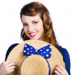 Pinup girl with straw hat — Stock Photo