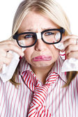 Crying nerdy businesswoman — Foto Stock