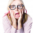 Nerdy woman reacting in horror and fright — Stock Photo
