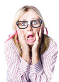 Nerdy woman reacting in horror and fright — Foto Stock
