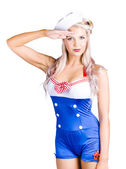 American pinup girl sailor saluting a yes sir — Stock Photo