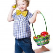 Boy Easter egg hunting — Stock Photo