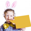 Boy with bunny ears and blank bubble sign — Stock Photo