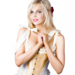 Pinup woman in corselet dress - Stock Photo