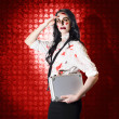 Stock Photo: Zombie business womin red alert emergency