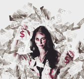 Dead business woman in financial crisis debt — Stock Photo