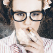Edgy grunge portrait of a smoking hipster nerd — Stock Photo