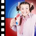 Overjoyed nerd woman at 3D movie premier — Stock Photo
