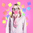 Female admin clerk swamped with multitasking jobs — Stock Photo