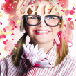 Romantic female nerd in a celebration of love - Stock Photo