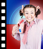 Overjoyed nerd woman at 3D movie premier — Stock Photo