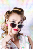 Retro glam model on colourful disco dots — Stock Photo