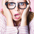 Hysterical business woman having panic attack — Stock Photo