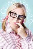 Think smart to solve unanswered questions — Stock Photo