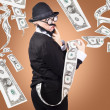 Corrupt business man money laundering US dollars - Stock Photo