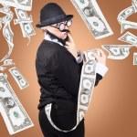 Corrupt business man money laundering US dollars — Stock Photo