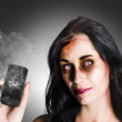 Zombie business woman holding dead technology - Stock Photo