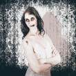Vintage halloween spook on grunge background - Stock Photo