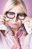 Cry baby businesswoman crying a waterfall of tears — Stock Photo