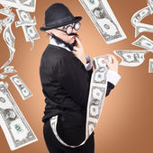 Corrupt business man money laundering US dollars — Stock Photo