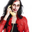 Stock Photo: Zombie Womon Telephone