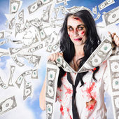 Zombie person with falling 1 dollar US bank notes — Stock Photo
