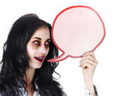 Halloween woman with speech bubble — Stock Photo