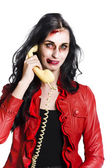 Zombie Woman on Telephone — Stock Photo