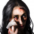 Tearful woman with injuries - Stock Photo