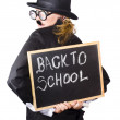 Young woman with chalk board - Stock Photo