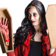 Female vampire with good mourning welcome — Stock Photo