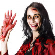 Bloody Zombie Woman with Severed Hand — Stock Photo