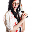 Crazy zombie with butcher saw — Stock Photo