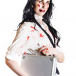 Isolated zombie businesswoman on white - Stock Photo