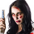 Zombie woman with stapler - Stock Photo