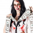 Zombie banker with forged american dollars - Stock Photo