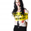 Zombie woman taped up — Stock Photo