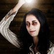 Creepy attic girl with bright halloween ideas - Stock Photo