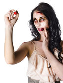 Halloween Zombie Woman Writing Message — Stock Photo