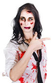 Zombie Woman Pointing — Stock Photo