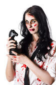 Evil dead business zombie with chess playing piece — Stock Photo