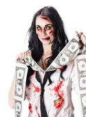 Zombie banker with forged american dollars — Stock Photo
