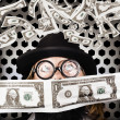 Fortune 500 businessman covered in US dollars — Stock Photo