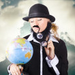 Travelling tourist planning global world tour — Stock Photo